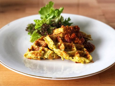 Parsnip, parsley and cheddar waffles served with tomato Kasundi.jpg
