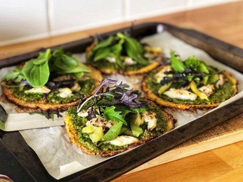 Cauliflower flat breads with kale pesto, smoked fish and preserved lemon