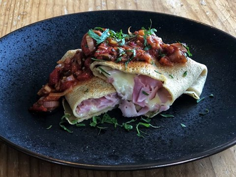 Buckwheat crepes stuffed with ham and whitestone vintage five forks cheese and quick spicy tomato sauce.jpg