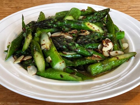 Pan fried asparagus with warm kombucha dressing and toasted almonds.jpg
