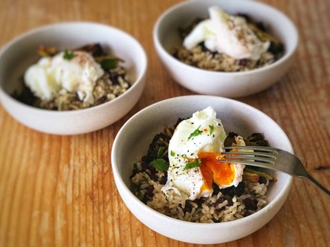 Spicy Roasted Broccoli, Brown Rice & Black Beans with Poached Eggs.jpg
