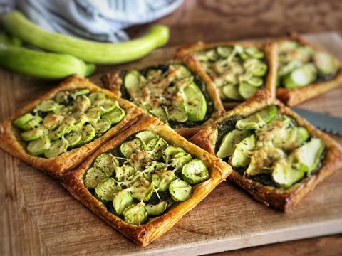 Mint and Sunflower Pesto, preserved lemon and Tromboncino Squash Tart.jpg