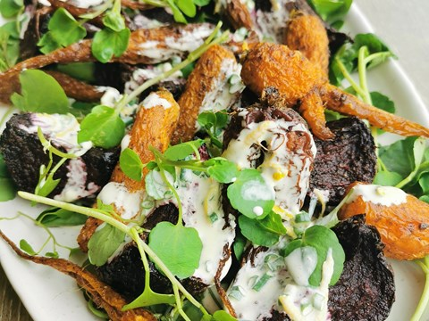 Slow Roasted Beetroot and Heirloom Carrot Salad with Watercress and Crème Fraiche Dressing.jpg
