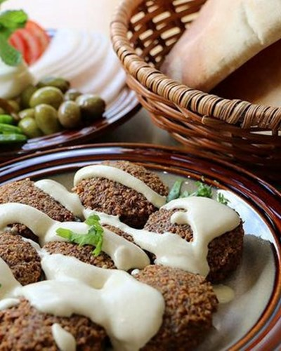 Falafel with a sweet and smokey yoghurt dressing