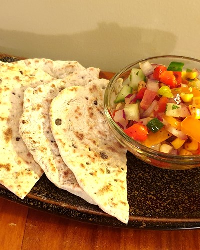 Heirloom Tomato Salsa with Olive flatbread