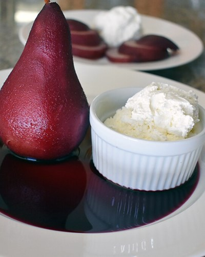 Pears Poached in Pinot Noir with Cinnamon Cream and Sablee Biscuits