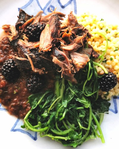 Slow Cooked Lamb Neck with Blackberries
