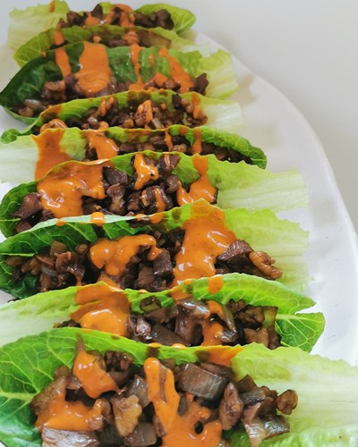 Mushroom and Walnut Cos Cups with Chipotle Sauce