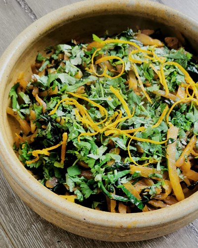 Stir-fried Yams with Spinach