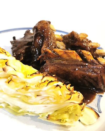 Glazed Lamb Brisket with Baked Cabbage