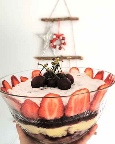 Cherry and Vanilla Trifle with Strawberries
