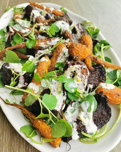 Slow Roasted Beetroot and Heirloom Carrot Salad with Watercress and Crème Fraiche Dressing