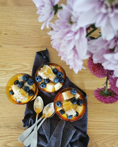 Honey Mousse with Heritage Wiggins Peaches and Blueberries