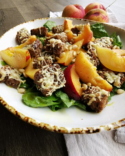 Nectarine Salad with Pecorino Pumpernickel Croutons