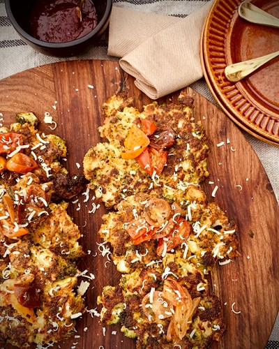Crunchy Broccoli Fritters & Heirloom Cherry Tomatoes